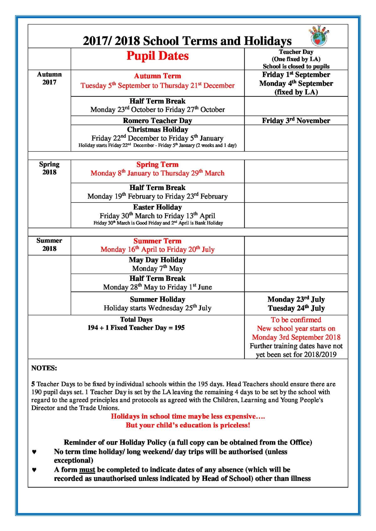 Manningtree high school half term dates