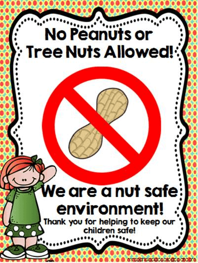 No Peanuts Or Tree Nuts Allowed Sacred Heart